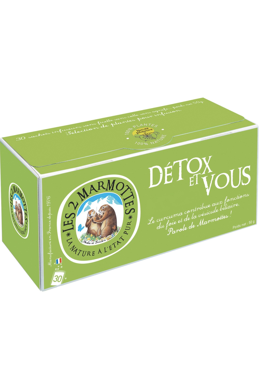 Blissim : Les 2 Marmottes - Infusion Détox et Vous – 30 sachets - Infusion Détox et Vous – 30 sachets