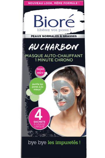 Masque auto-chauffant 1 minute chrono au charbon