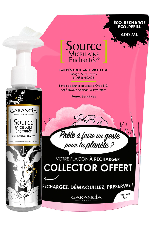 Blissim : Garancia - Eau source micellaire Enchantée® - Recharge Source Micellaire Rose et son flacon vide offert