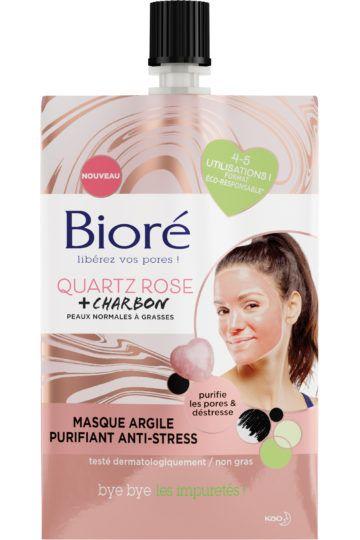 Masque argile purifiant anti-stress au quartz rose et charbon