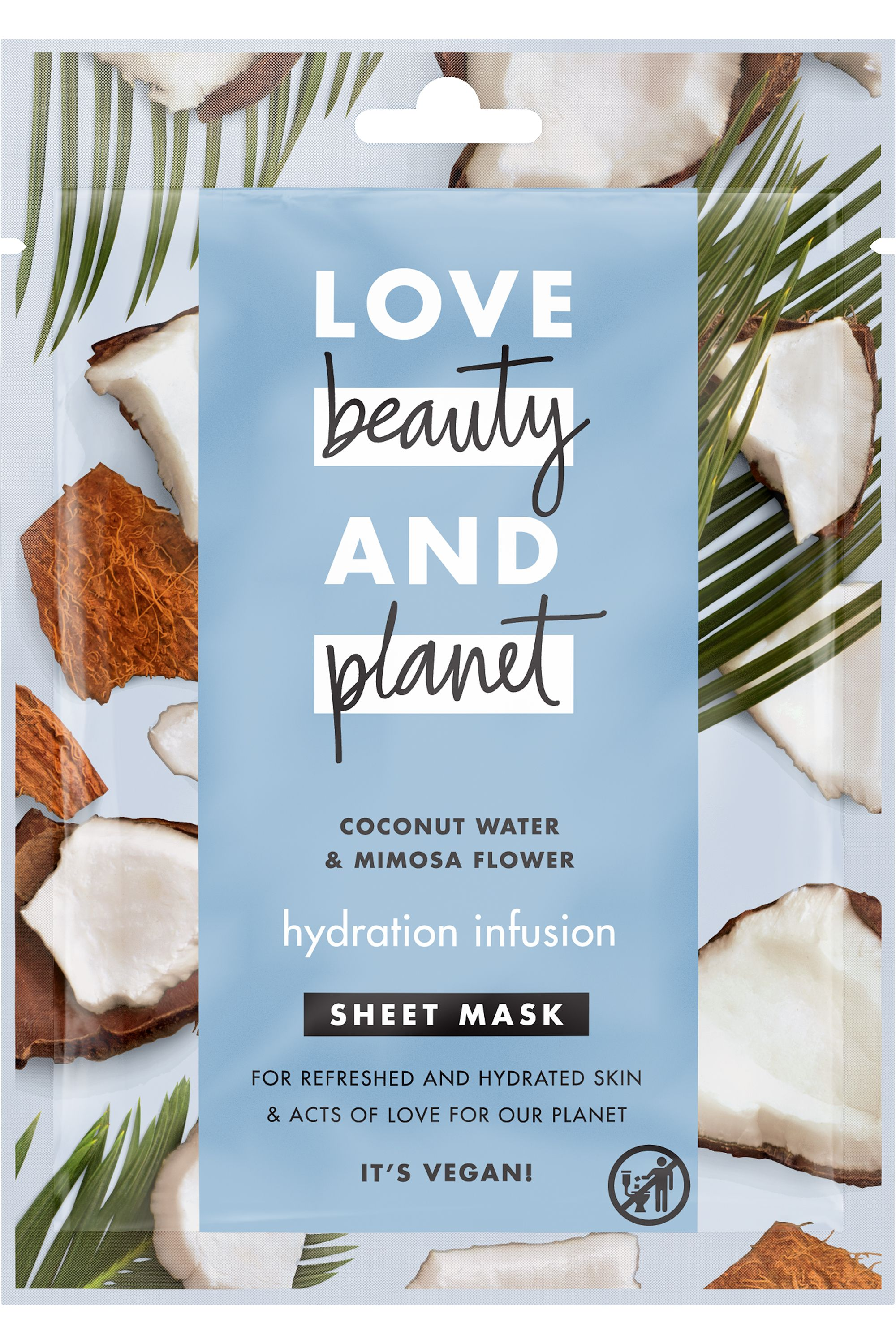 Blissim : Love Beauty and Planet - Masque visage en tissu infusion hydratante - Masque visage en tissu infusion hydratante