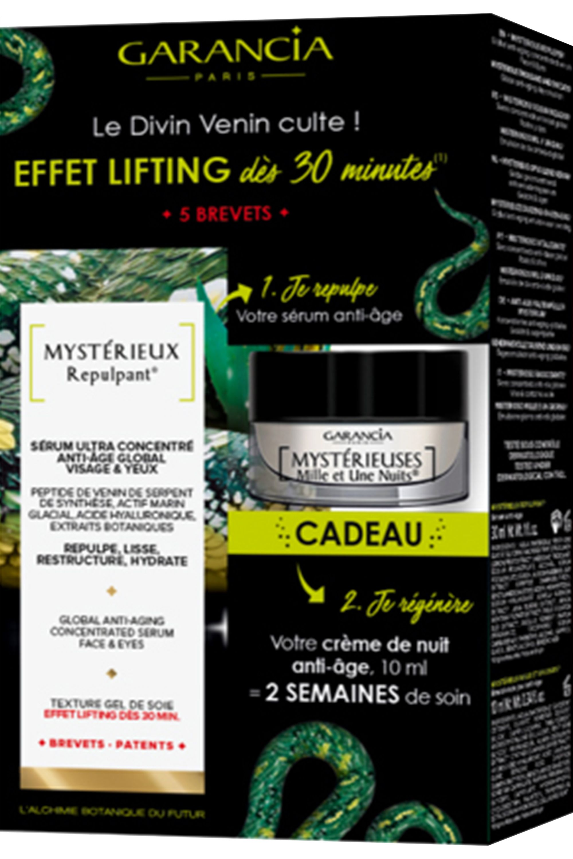 Blissim : Garancia - Coffret soin anti-âge sérum Mystérieux Repulpant + crème de nuit 30ml offerte - Coffret soin anti-âge sérum Mystérieux Repulpant + crème de nuit 30ml offerte