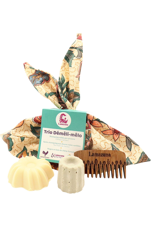Blissim : Lamazuna - Trio shampoing & après-shampoing solides + peigne - Trio shampoing & après-shampoing solides + peigne
