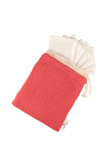 Kit 7 carrés démaquillants lavables + filet + pochette rose